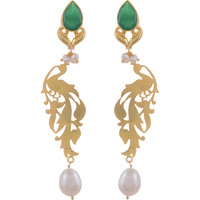 Beautiful Design, Green Oynx, Fresh Water Pearl, Gold Plated Drop Earrings By Silvermerc Designs