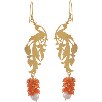 Beautiful Design, Orange Beads, Gold Plated Drop Earrings By Silvermerc Designs