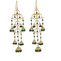 Gold Pated, Green Beads Beautiful Jhumka Earrings By Silvermerc Designs