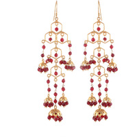 Gold Pated, Red Beads Beautiful Jhumka Earrings By Silvermerc Designs