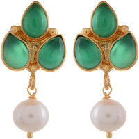 Gold Plated Trendy Design, Green Turquoise, Pearl Studs Earrings By Silvermerc Designs