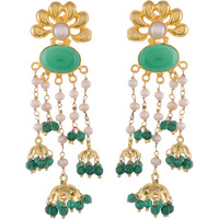 Gold Plated, Fresh Pearls, Green Turquois Jhumka Earrings By Silvermerc Designs