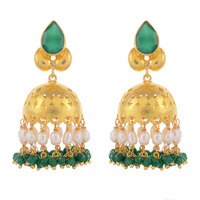 Gold Plated, Green Oynx, Pearls Beautiful Jhumka Earrings By Silvermerc Designs