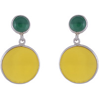 Trendy & Beautiful Design & Green & Yellow Turquoise Silver Drop Earrings By Silvermerc Designs
