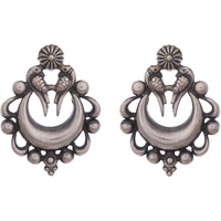 Beautiful & Floral Design Silver Detailing Silver Studs Earrings By Silvermerc Designs