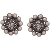 Classic & Silver Detailing Silver Studs Earrings By Silvermerc Designs
