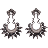 Beautiful & Floral Design Silver Chandbali Earrings By Silvermerc Designs