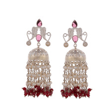 Classic & Pink Oynx & Pearl Silver Jhumka Earrings By Silvermerc Designs