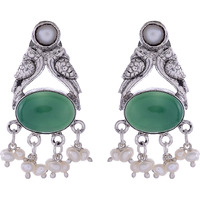 Trendy & Green Turquoise & Fresh Water Pearls Silver Studs Earrings By Silvermerc Designs