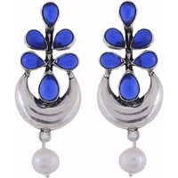 Classic & Blue Turquoise & Pearls Silver Studs Earrings By Silvermerc Designs