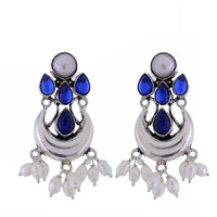 Classic & Blue Turquoise & Pearls Silver Drop Earrings By Silvermerc Designs