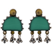 Classic Design & Green Oynex Silver Studs Earrings By Silvermerc Designs