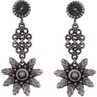 Beautiful Floral Design Silver Drop Earrings By Silvermerc Designs