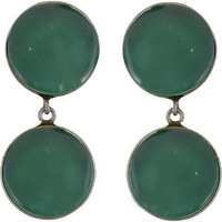 Trendy & Green Turquoise Round Shape Silver Drop Earrings By Silvermerc Designs