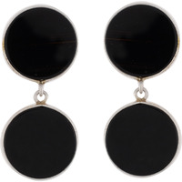 Trendy & Black Turquoise Round Shape Silver Drop Earrings By Silvermerc Designs