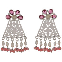 Beautiful Floral Design & Pink Turquoise Silver Drop Earrings By Silvermerc Designs