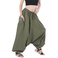 100% Cotton Baggy Boho Gypsy Hippie Harem Pants Plus Size (Army Green)