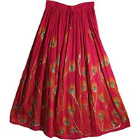 Women's Indian Sequin Crinkle Broomstick Gypsy Peacock Long Skirt (Coral)