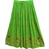 Womens Indian Sequin Crinkle Broomstick Gypsy Long Skirt (Green)