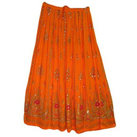 Womens Indian Sequin Crinkle Broomstick Gypsy Long Skirt (Orange)
