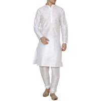White Silk Kurta Pajama For Men's Indian Clothing