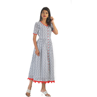 Pink Flamingo Clothing Classic Cotton Red & Blue Kurta Dress
