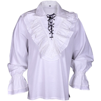 Renaissance Casual Summer Pirate Shirt Medieval Men Costume White Small