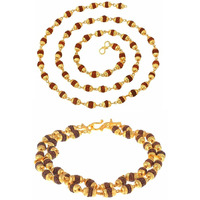 Zivom Double Rudraksh Beads Braceket + Rudraksh Mala 24   Combo For Men