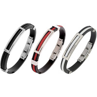 Zivom Biker Black, Red & White Silicon Openable Combo Bracelet For Men