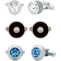Zivom Bullet Round Black, Round Blue & CZ Round Silver Brass Combo Cufflink Pair For Men