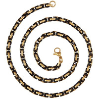Zivom 22K Gold & Black Rhodium Plated 3D Byzantine Chain 21.6   For Men