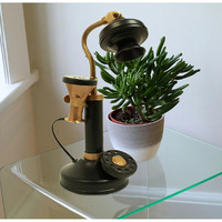 Akeeratly Black Brass Hans Design Antique Telephone Table Decorative Showpiece