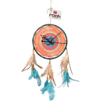 Dream Catcher Clock Wall Hanging Handmade Ornament Feathers Decoration