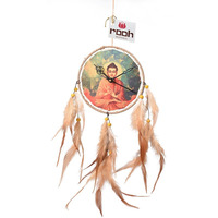 Buddha Dream Catcher Clock Wall Hanging Handmade Ornament Feathers Decoration
