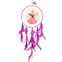 Barbie Dream Catcher Clock Wall Hanging Handmade Feathers Decoration