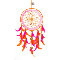 Pink & Orange With Gold Elephants Dreamcatcher Wall Hanging Feathers Decoration