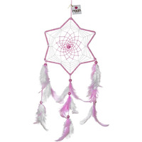 Princess Pink & White  Medium Dreamcatcher Wall Hanging Feathers Decoration