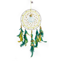 Green & Yellow With Gold Elephants Dreamcatcher Wall Hanging Feathers Decoration