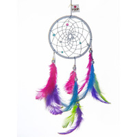 Happy Hippie Dreamcatcher Wall Hanging Handmade Feathers Decoration