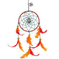 Red Velvet Dreamcatcher Wall Hanging Handmade Feathers Decoration