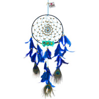 Royal Peacock With Flowers Dreamcatcher Wall Hanging Handmade Feathers