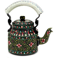 Indian Traditional Hand Painted Tea Kettle Tea Pot Steel  Black Beauty