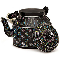 Indian Traditional Hand Painted Tea Kettle Tea Pot Steel  (Big): Black Beauty