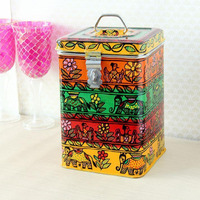 Indian Traditional Hand Painted Canister Storage Box Handicraft  Celebration