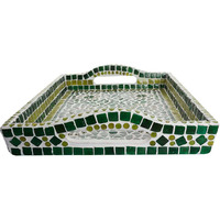 Indian Traditional Hand Painted Mosaic Serving Large Tray Serving Green