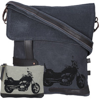 NEUDIS Genuine Leather & Recycled Stone Washed Canvas Travel Sling / Cross Body Bag for iPad & Tablet - Bike - Blue
