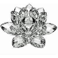 4   Amlong Crystal Clear Crystal Lotus Flower With Gift Box