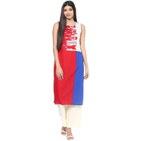Jaipur Kurti Women Ethnic Cotton Abstract Print Kurta 3/4th Sleeves Casual Tunic Summer Wear, Multicolor