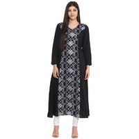 Jaipur Kurti Women Ethnic Cotton Abstract Print Kurta Full Sleeves Casual Tunic Summer Wear, Black