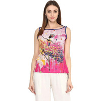 Jaipur Kurti Women Ethnic Cotton Abstract Print Kurta Sleeveless Casual Tunic Summer Wear, Pink
